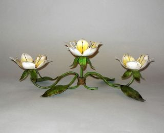 Vintage Italian Painted Metal Tole Floral Table 3 Candleholder 16