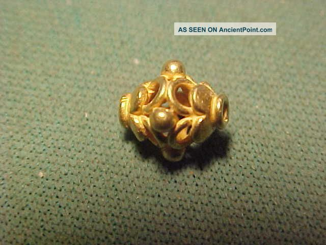A Stunning Ornately Decorated Sassanian Gold Bead Circa 224 - 642 Ad Near Eastern photo