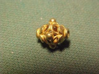 A Stunning Ornately Decorated Sassanian Gold Bead Circa 224 - 642 Ad photo