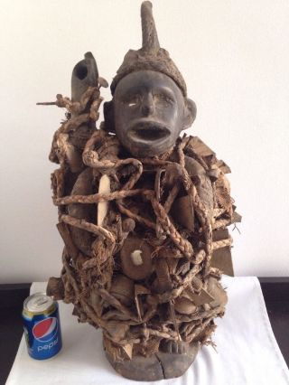 Old Very Rare Large African Carved Figure With Mirrors & Nails - photo
