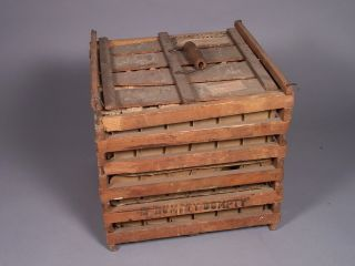 Antique Humpty Dumpty Wooden Chicken Egg Crate With Inserts photo