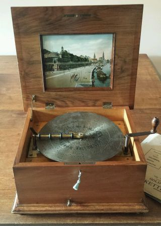 A 19th C Swiss Marquetry & Walnut Cased Polyphon Disc Playing Music Box & Discs photo