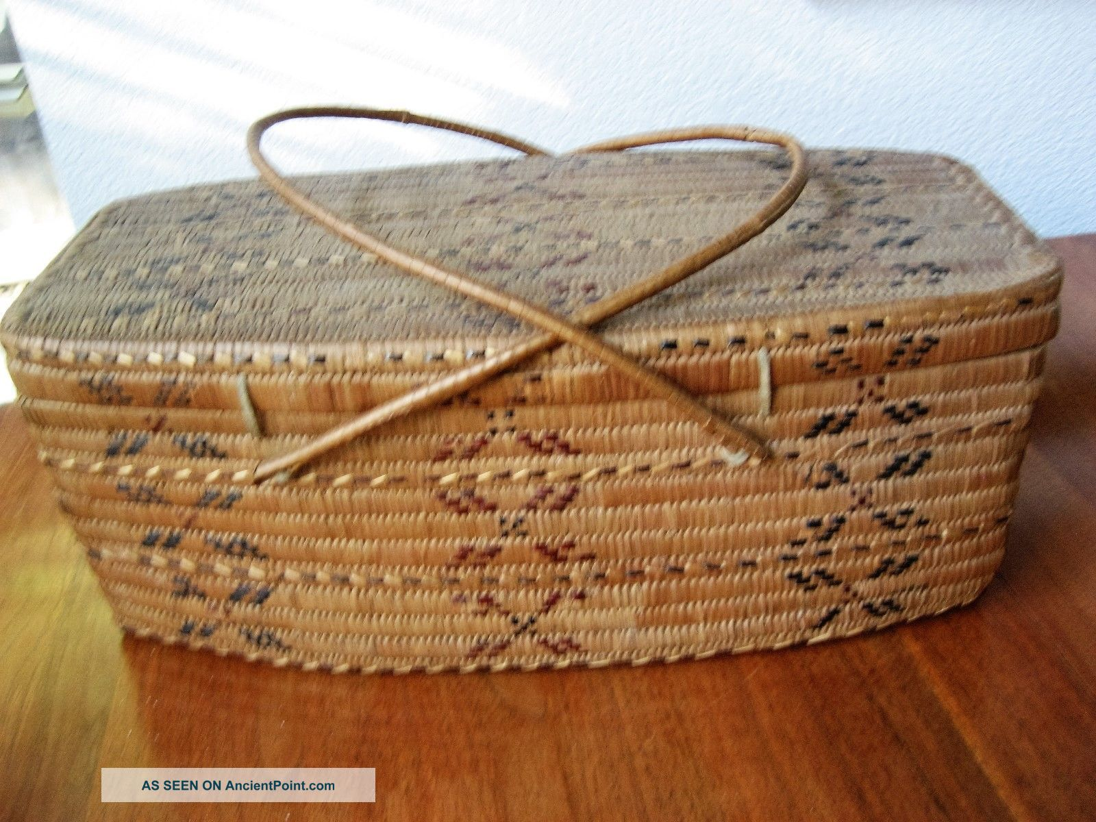 L Native American Canada First People Salish North Coast Basket Lid Imbricated Native American photo