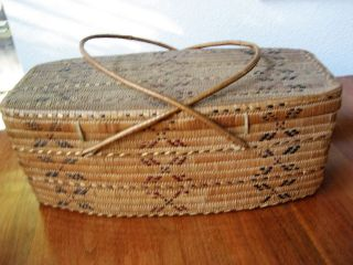 L Native American Canada First People Salish North Coast Basket Lid Imbricated photo