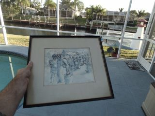 Vintage Aaron Sopher Pen & Ink Watercolor Drawing Awesome photo