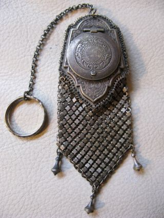 Antique Victorian Art Nouveau French Doll Chain Mail Coin Holder Purse W&d 66 photo