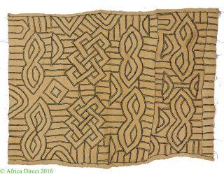 Kuba Textile Handwoven Raffia Congo African Art 2 Feet photo