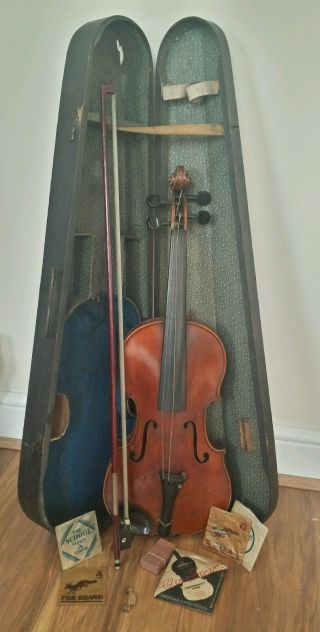 Old Antique Full Size? Violin & Bow In A Coffin Case photo