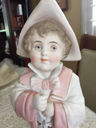 Antique German Gebruder Heubach? Bisque Figurine Boy & Girl Piano Baby Doll 14