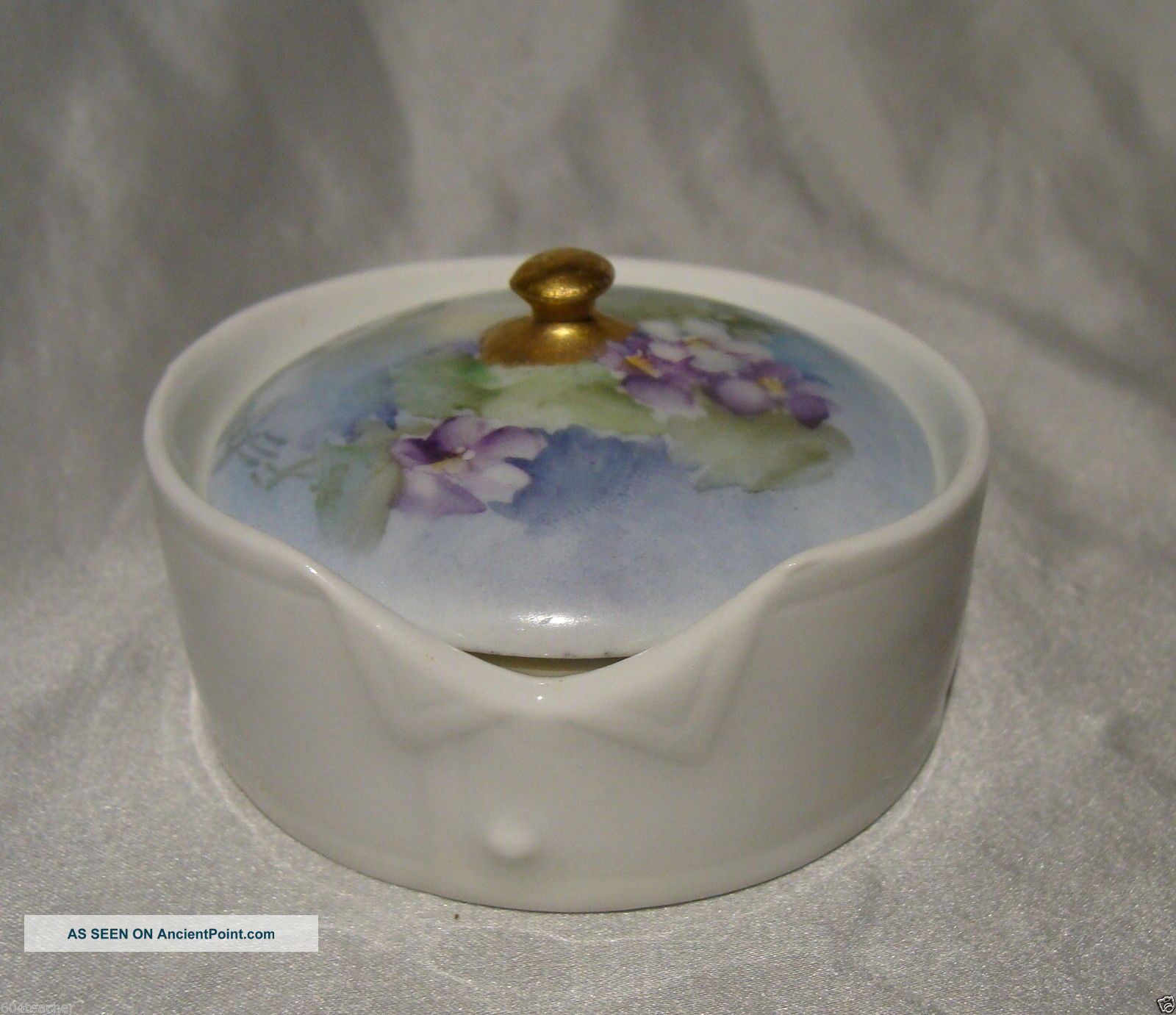 Antique German Hand Painted Porcelain Stud Collar Button Box Rosenthal Germany Baskets & Boxes photo