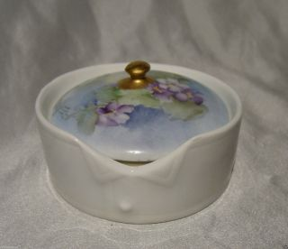Antique German Hand Painted Porcelain Stud Collar Button Box Rosenthal Germany photo