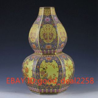 Chinese Handwork Paint Cloisonne Gourd Type Porcelain Vase W Yongzheng Mark 946 photo