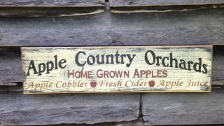 Handmade Wood Apple Country Orchard Primitive Rustic Country Home Decor photo