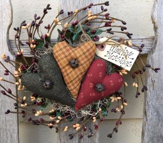 Pip Berry Wreath - Primitive Heart - Country Decor - Holiday Hanger photo