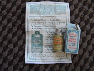 Rare 1906 Mini Sample - Colgate Dental Powder Tin With Leaflet & Box - Teeth 6 photo
