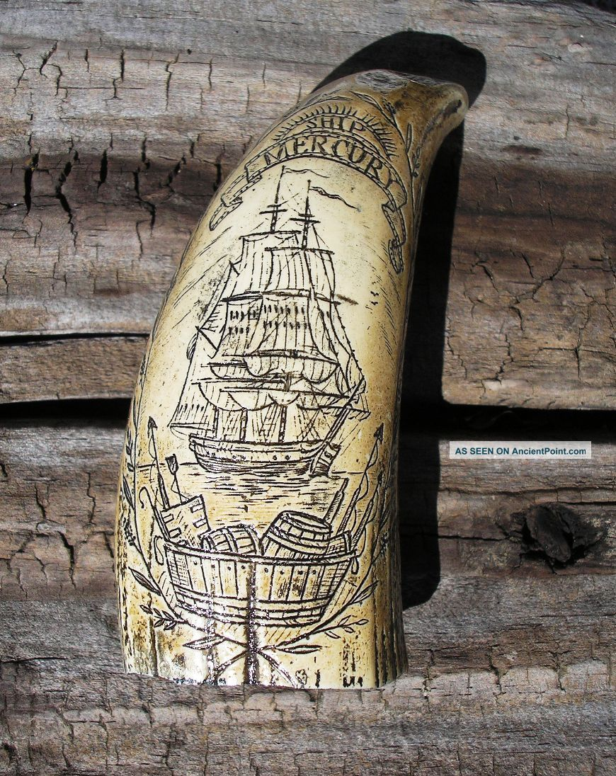 Scrimshaw Replica Resin Sperm Whale Tooth The Ship Mercury Scrimshaws photo