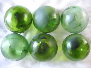 6 Olive Green Japanese,  Korean Vintage Glass Floats Alaska Beachcomberbum photo