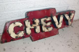 Recycled Scrap Metal Chevy Bowtie Sign Bar Rustic Auto Man Cave Garage photo