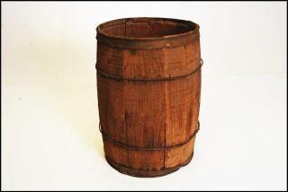 Vintage Wood Nail Keg Barrel Rustic Wooden Industrial Loft Farm Box Trash Barn E photo