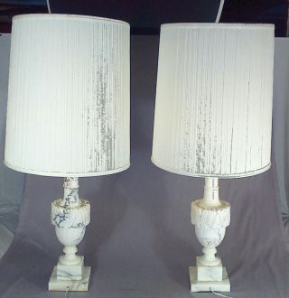Pair Hollywood Regency Alabaster Marble Table Lamps Mid Century Modern Italian photo