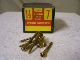 5 #14x2-1//2 Round Head Slotted Wood Screws Solid Brass