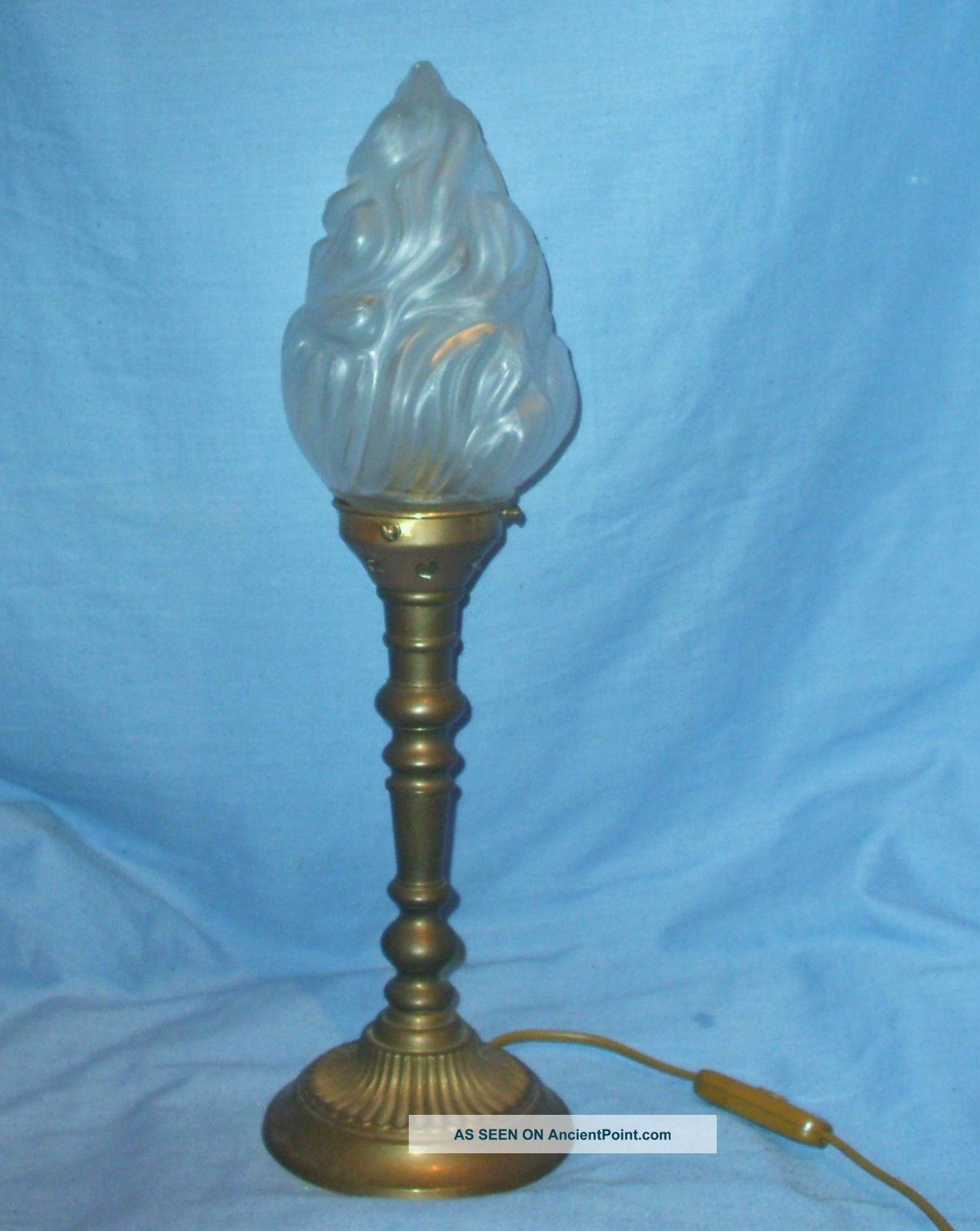 Vintage Solid Brass Lamp With Flame Shade 20th Century photo