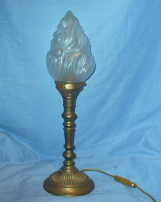 Vintage Solid Brass Lamp With Flame Shade photo