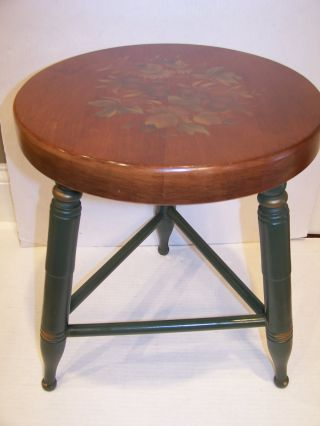 Vintage Wood L.  Hitchcock 3 Leg Green Stool Chair Grapes Fruit Stencil Nr photo