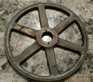 Vintage Large Cast Iron Industrial Pulley Wheel Steampunk Art photo
