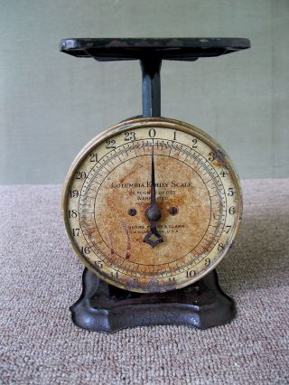 Antique Scale Columbia Family Household Landers Frary Clark Black Pt Pat 4 - 16 - 07 photo