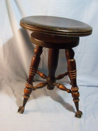 Antique Wood Piano Organ Stool Tonk Chicago Adjustable Swivel Claw Feet photo