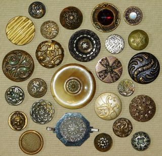 Antique Victorian Metal Picture Buttons photo