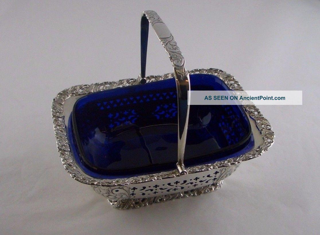 Victorian Silver Swing Handle Sugar Basket - Sheff 1898 - Atkin Brothers Dishes & Coasters photo