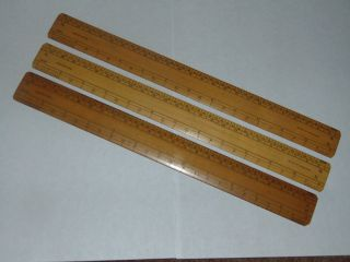3 Vintage Boxwood Scale Ruler Rule By Armstrong In photo