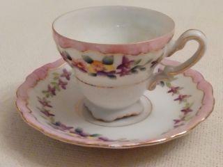 Vintage Decorative Demitasse Tea Cup And Saucer/ Japan photo