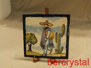 Signed Rugerio Pottery Talavera Mexican Tile Man Sombrero Serape Poncho Cactus photo
