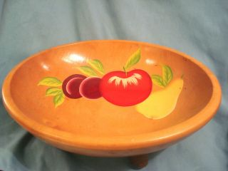 Munising Maple Bowl Footed Fruit Handpainted Out - Of - Round C.  11