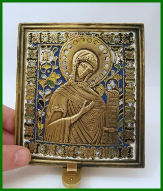 Russia Orthodox Bronze Icon The Virgin From Deesis.  Enameled 19th.  Cen. photo