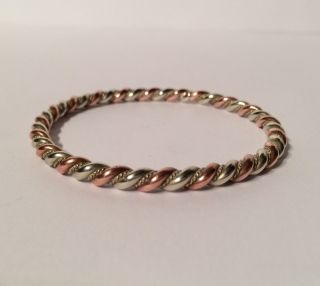 Outstanding Rose Gold Tone And Silver Tone Plait Bangle.  Metal Detecting Find photo