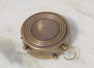 Nautical Marine Brass Antique Pocket Compass Vintage Maritime Office Decor Gift photo