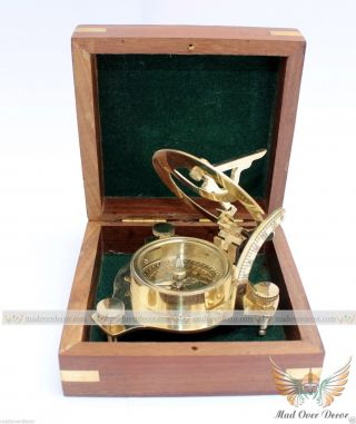 Vintage Maritime West London Antique Brass Sundial Compass Nautical Decor Gift photo