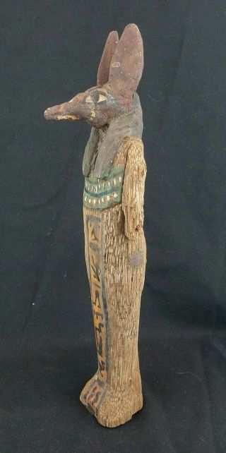 Scarce Antique Egyptian Anubis Carved Polychrome Ancient Statue Poss Early photo