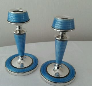 Rare Pair Art Deco Solid Silver Vibrant Blue Guilloche Enamel Candlesticks 1929 photo