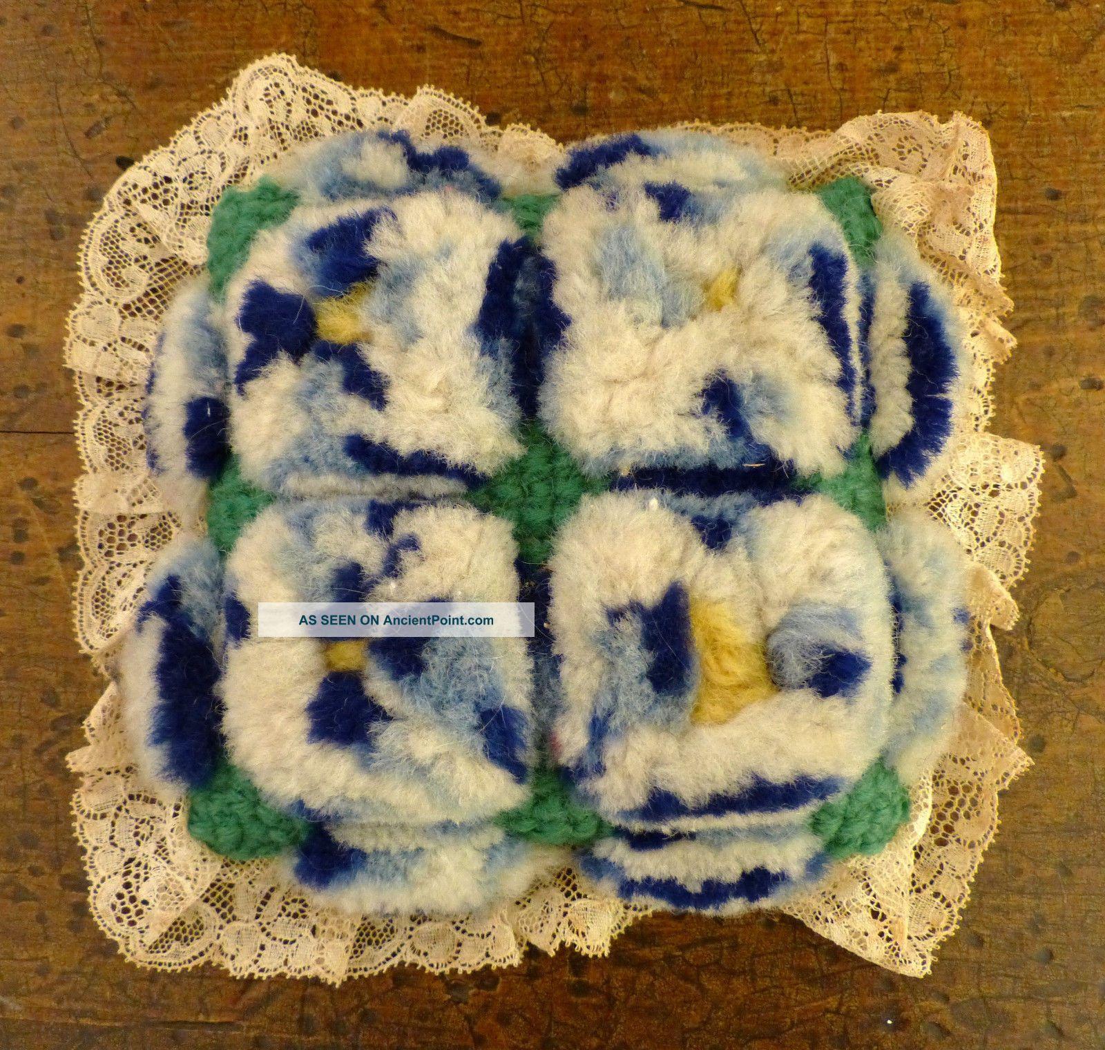 Antique Folk Art Mennonite Amish Sewing Velvet Stumpwork Pin Cushion 1 Pin Cushions photo