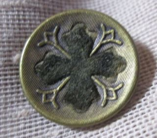 Small Antique Brass Cup Perfume Button Of Black Cross W Unique Pattern - - photo