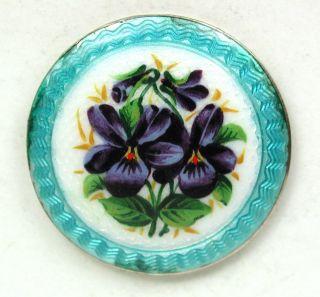 Antique Sterling Silver Enamel Button Aqua Basse Taille Violets Hallmarked 7/8