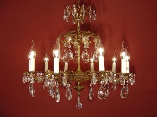 2 Crown 10 Light Brass French Crystal Chandelier Vintage Lamp Old Antique photo