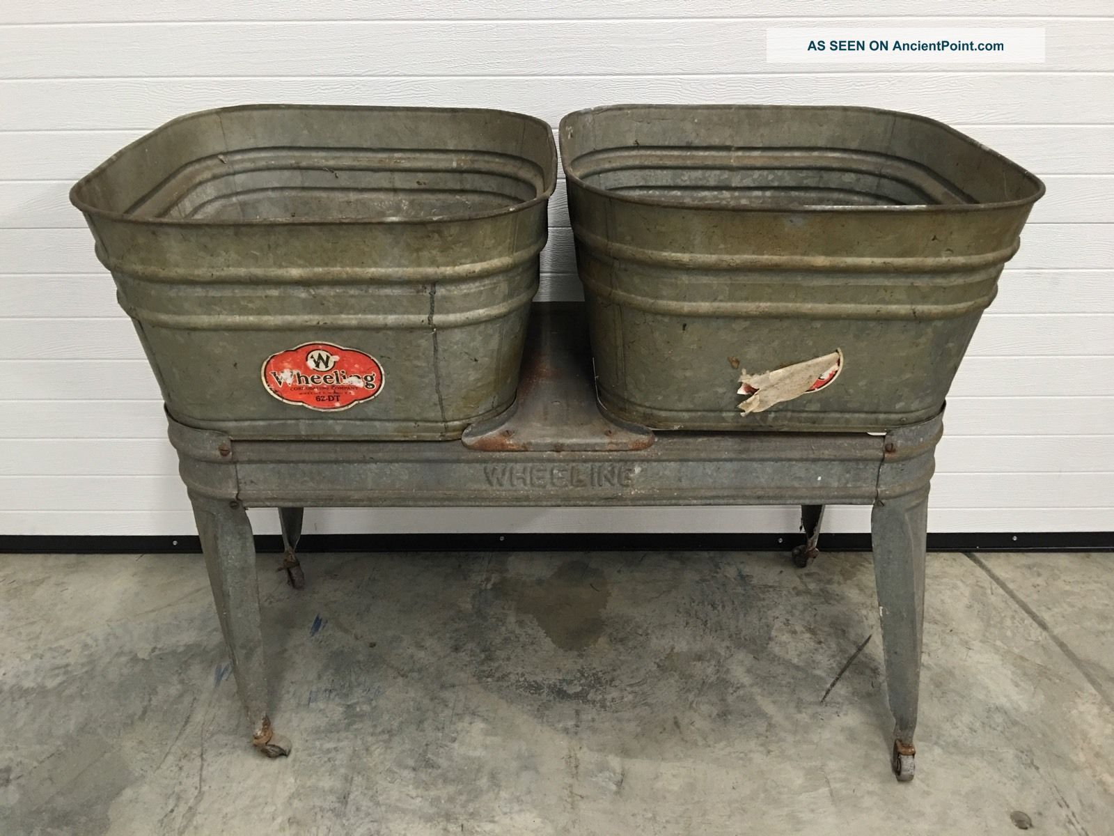 green double speed chairish wash stand with country galvanized vintage product queen tub basin