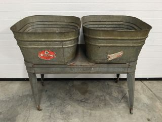 Vintage Wheeling Double Basin Wash Tub Stand Metal Galvanized Rustic W/tags photo