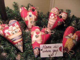 5 Handmade Country Christmas Fabric Gingerbread Heart Ornies Ornaments Decor photo